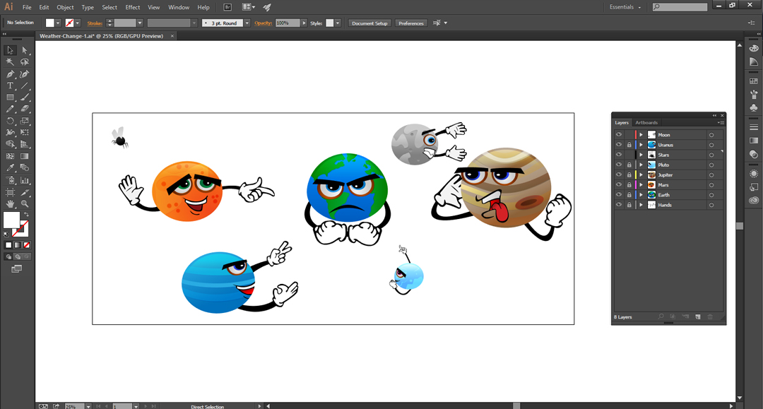 Screenshot in Adobe Illustrator showing a white background with planets with faces laughing at Earth for being smelly.