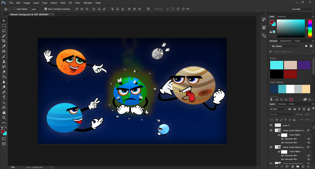 Screenshot in Adobe Photoshop of planets laughing at the smelly Earth