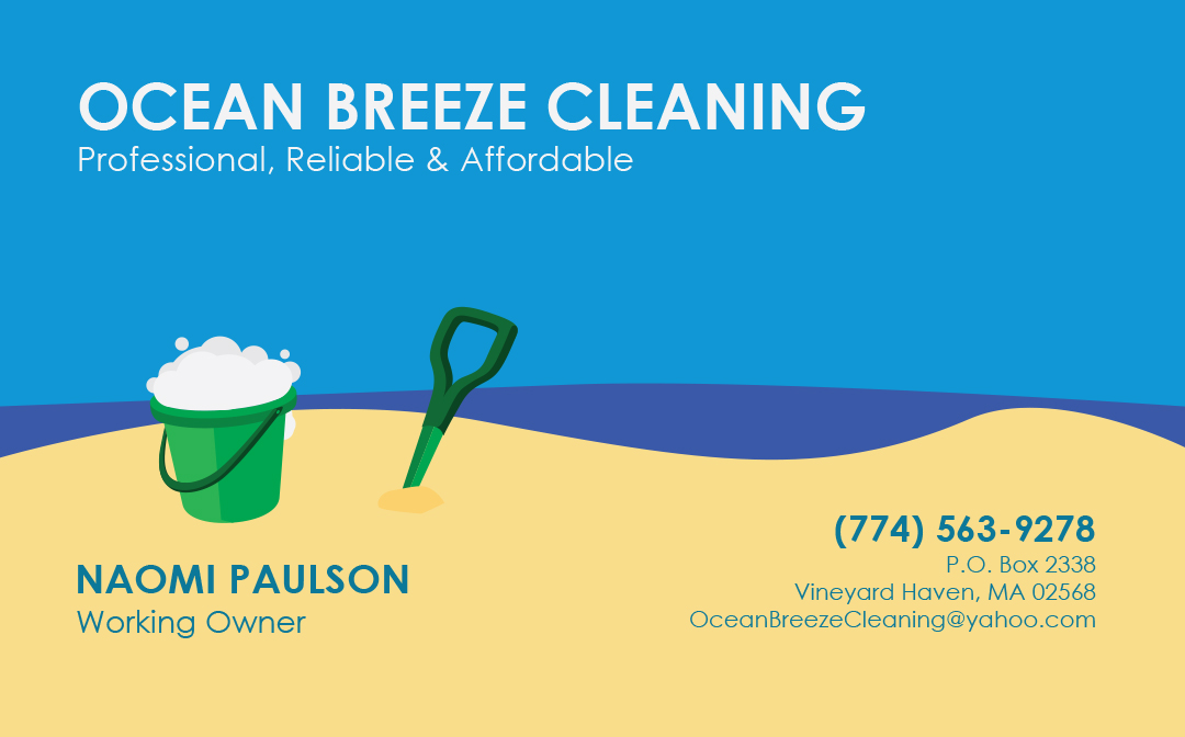 An image of an ocean themed business card made for Ocean Breeze Cleaning on Martha's Vineyard. Back side of the card.