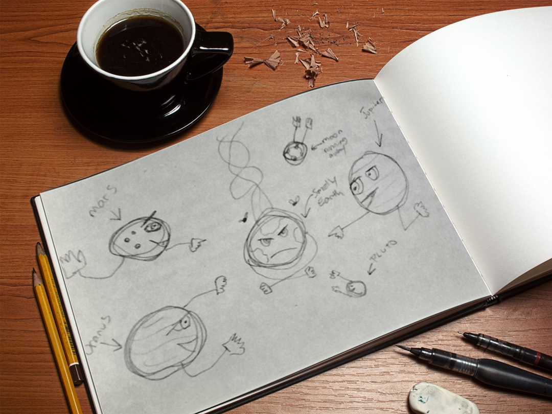 Quick sketch of planets with faces!