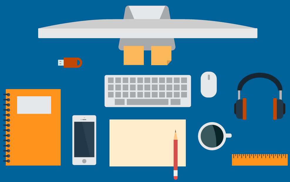 Flat design illustration of a graphic designer's desk, top view.