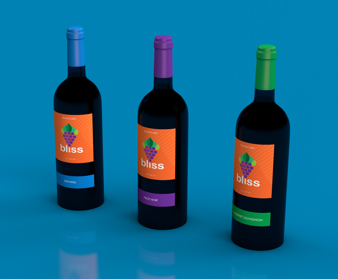 Flat design wine labels 3D render in Cinema 4D