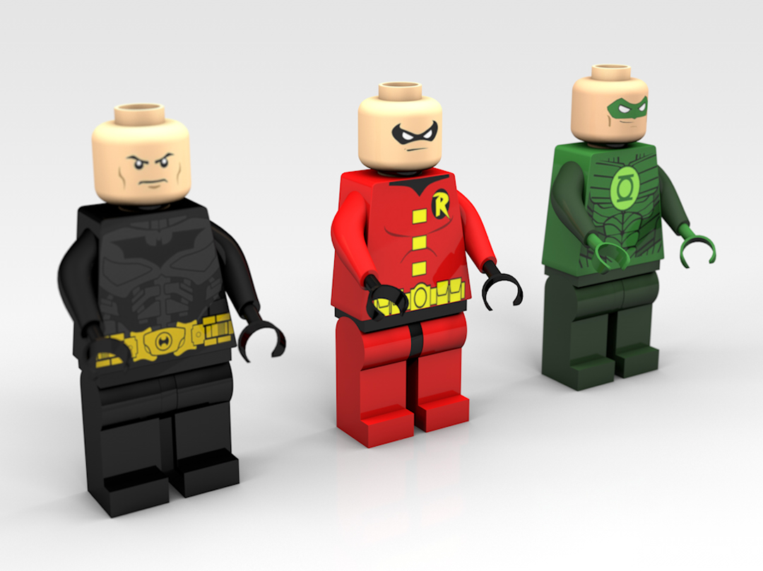 3D modeled lego figures with Batman, Robin and Green Lantern.