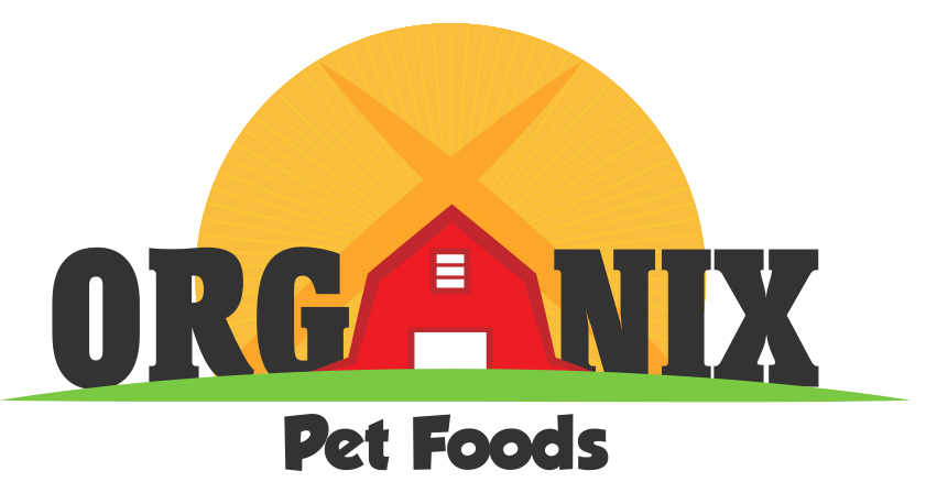 Organix pet food logo redesign with a barn and a sun.