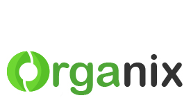 Organix logo redesign using shades of green and grey