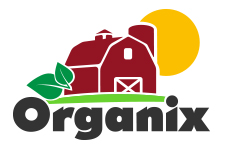 Organix logo redesign of a barn, a sun and leaves