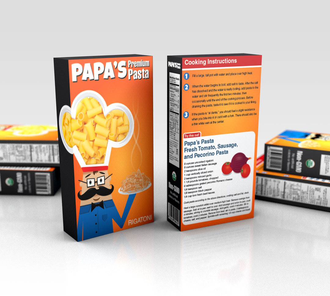 "A 3D render of a pasta box design called ""Papa's Pasta."""