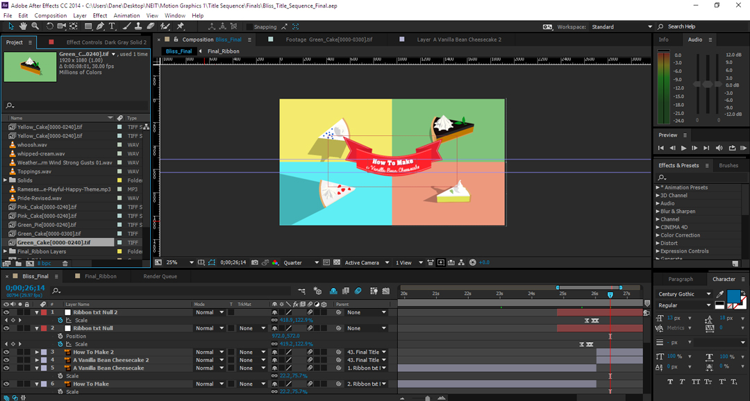 Screenshot in Adobe After Effects of flat design cheesecakes for a title sequence