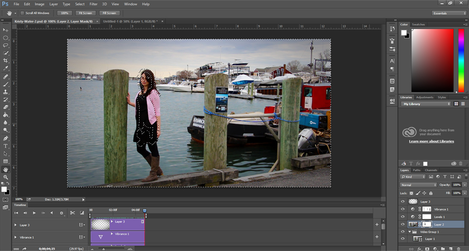 Cinemagraph screen shot in Adobe Photoshop. The first step of how to make cinemagraphs.