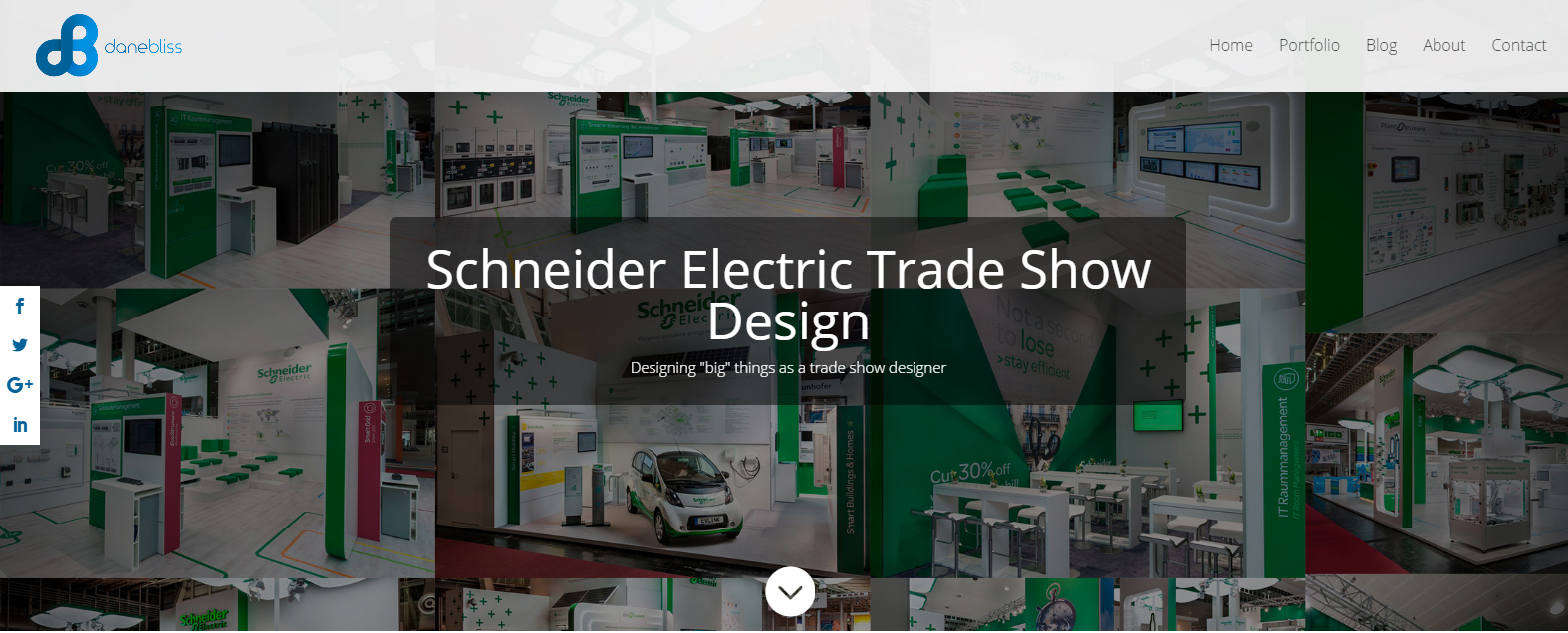 Screenshot of danbliss.com. Schneider Electric Trade Show Design.
