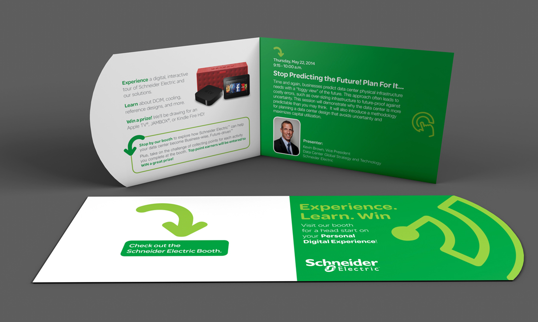 Trade show invitation room drop for AFCOM with a diecut. Schneider Electric .