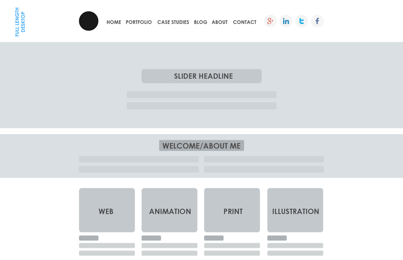 Design portfolio wireframe geared towards flat design.