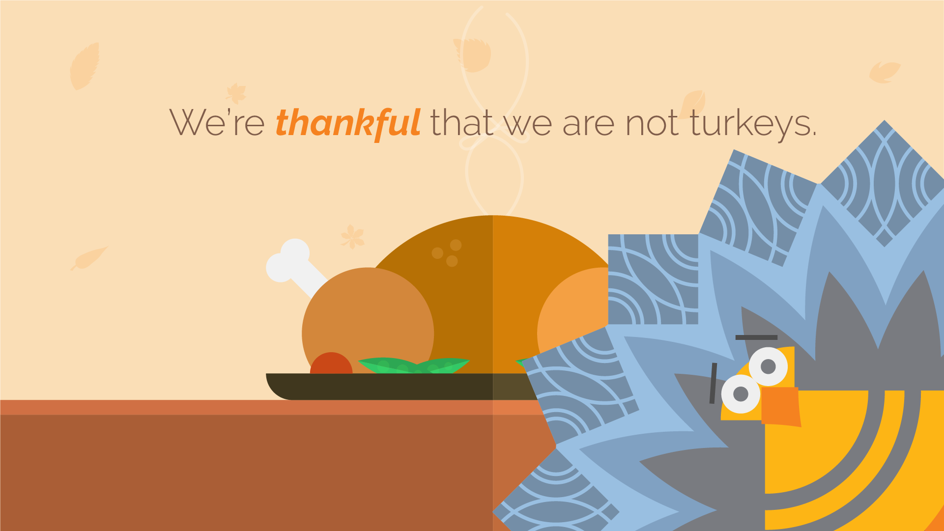 A flat design arcade scene used in an animated thanksgiving card for clients.