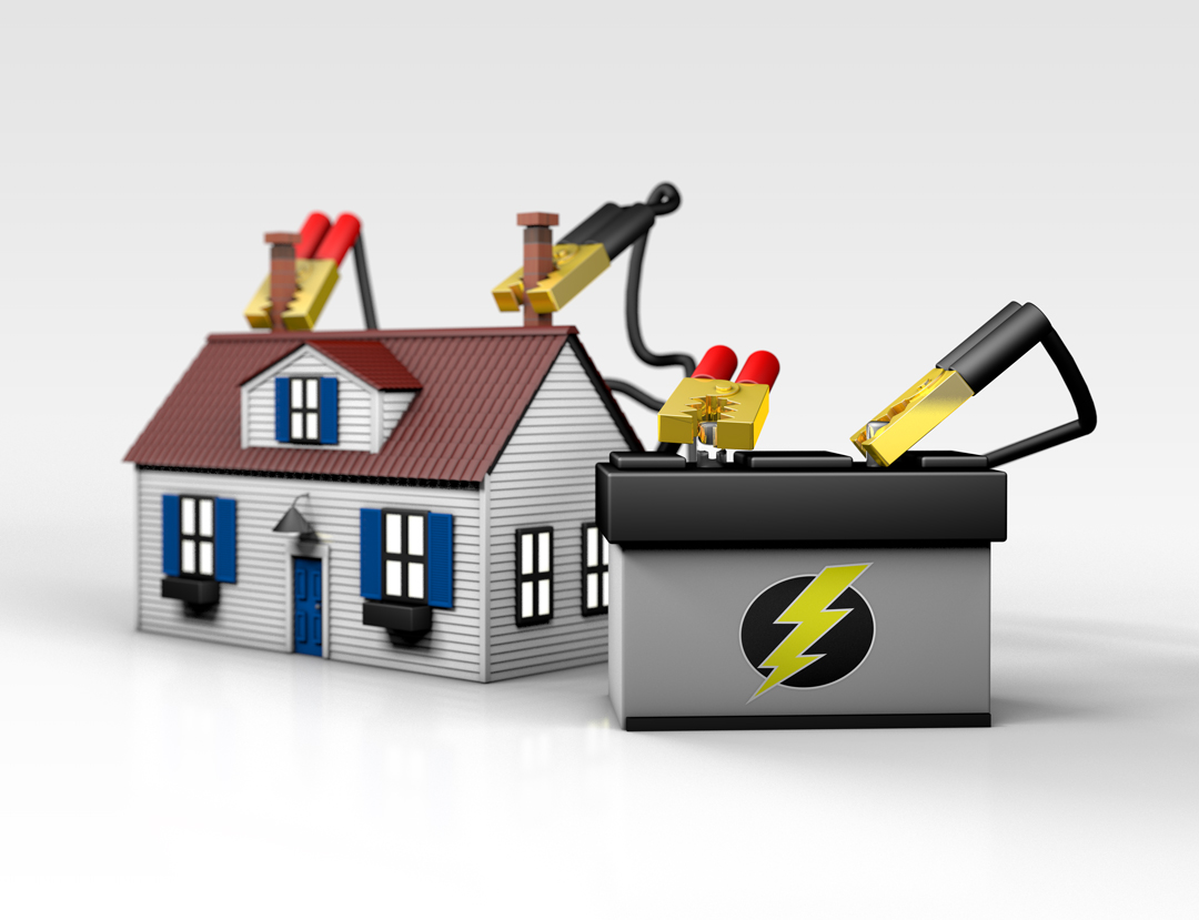 A 3D render of a house being powered by a car battery with jumper cables