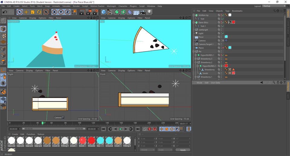 Screenshot in Cinema 4D of Cel Shading for a 3D, flat design look.