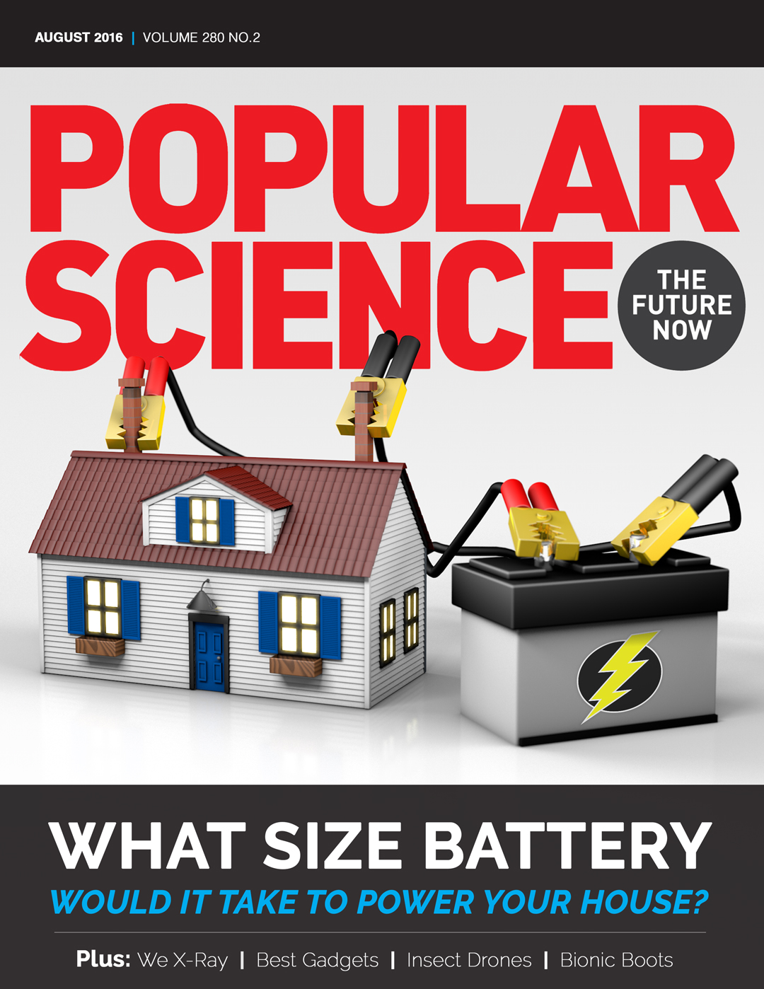 Magazine cover design with a 3D render of a house being powered by a car battery with jumper cables.