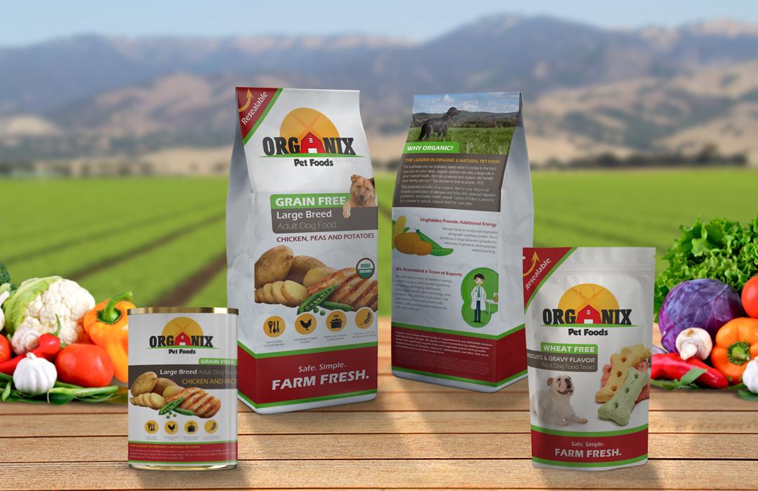 Organix pet food branding redesign product arrangement