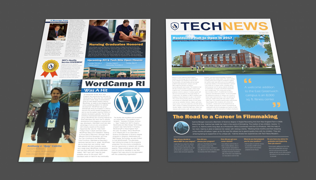 New England Institute of Technology seasonal newsletter redesigned