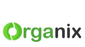 Organix logo redesign using shades of green and grey