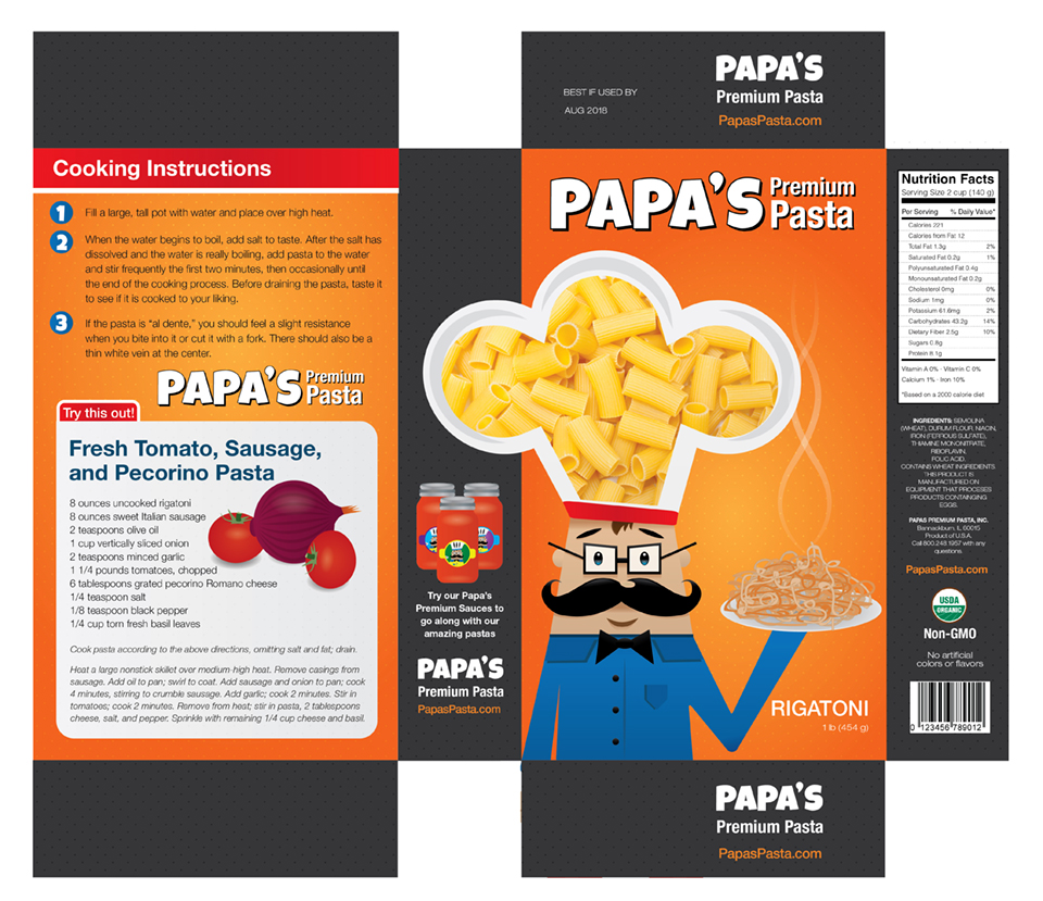 Pasta box package design flattened for printing.