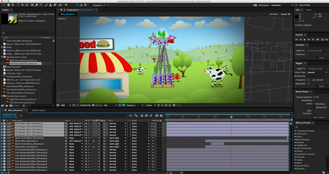 Screenshot of Adobe After Effects, showing all of the 3D layers.