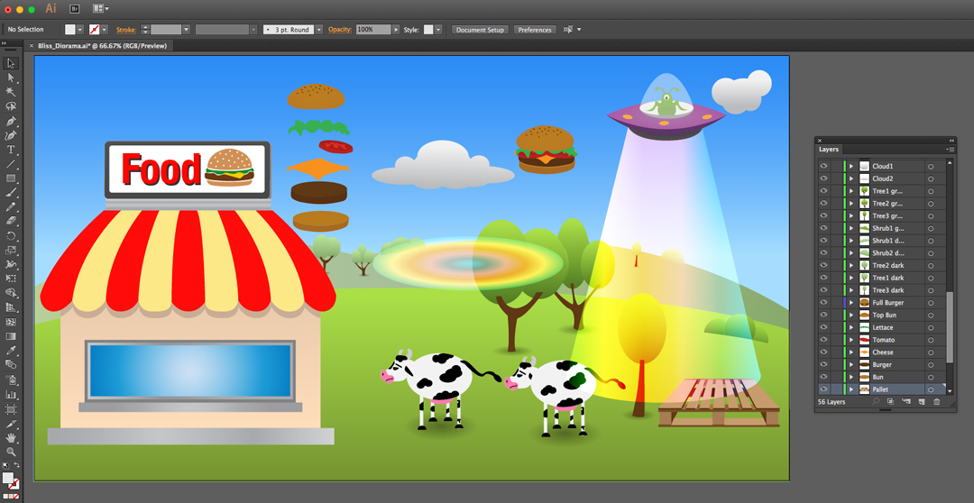 Screenshot of Adobe Illustrator, preparing the layers for Adobe After Effects.
