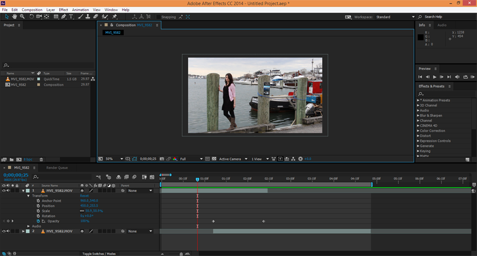 Adobe After Effects dissolve loop for a cinemagraph.