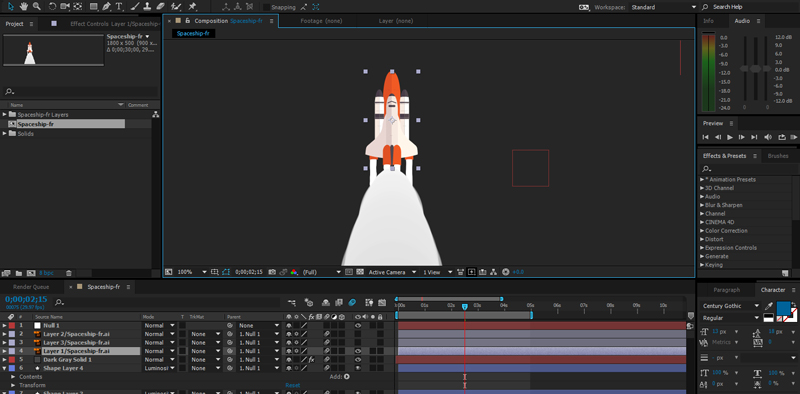 Rocket ship animation in After Effects. A first read animation for my design portfolio.