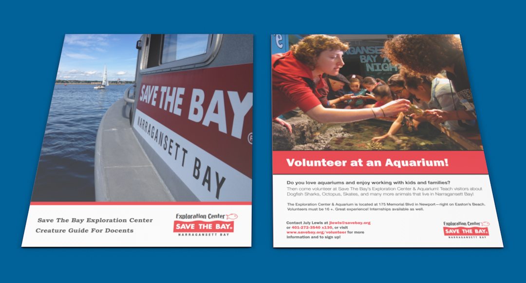 Graphic Design Print assets created for Save The Bay in Rhode Island. This image contains a critter guide front cover and an aquarium volunteer flyer.