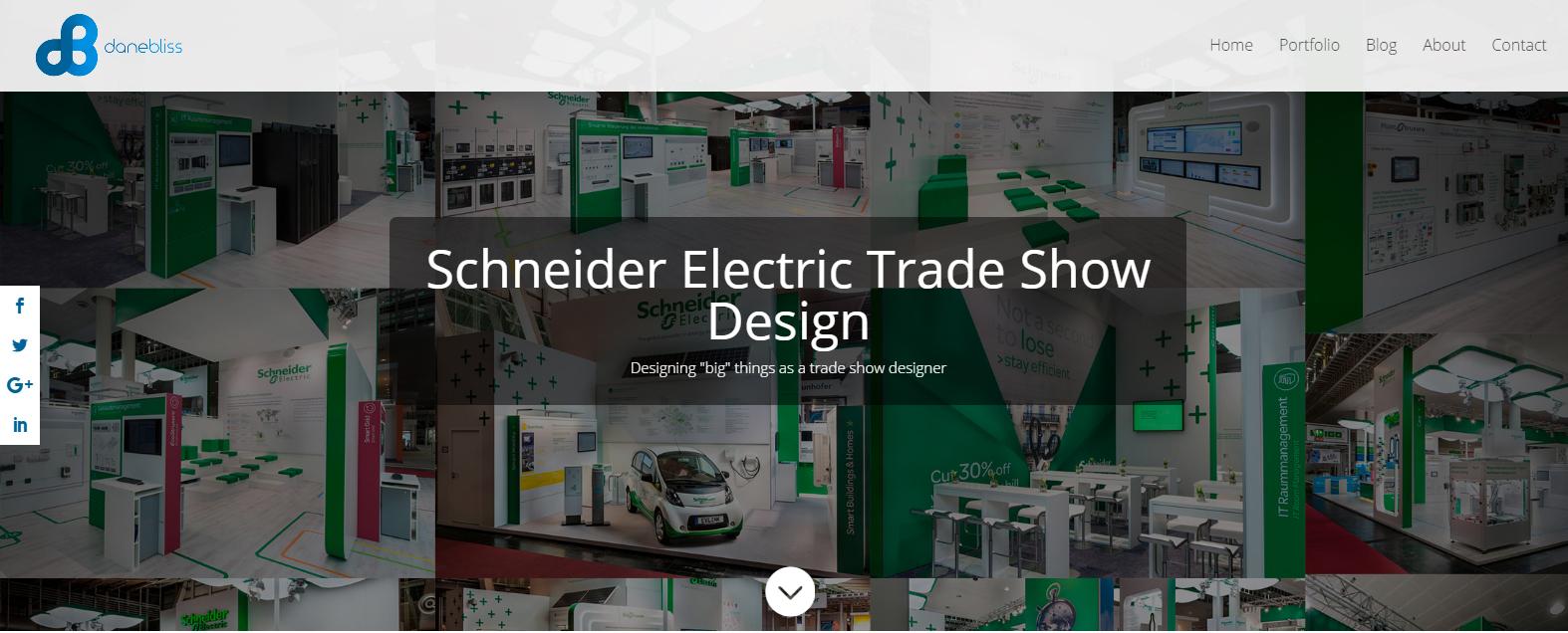 Screenshot of danbliss.com. Schneider Electric Trade Show Design.