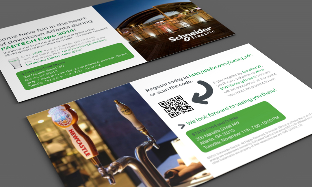 Trade show invitation room drop for FABTECH by Schneider Electric.