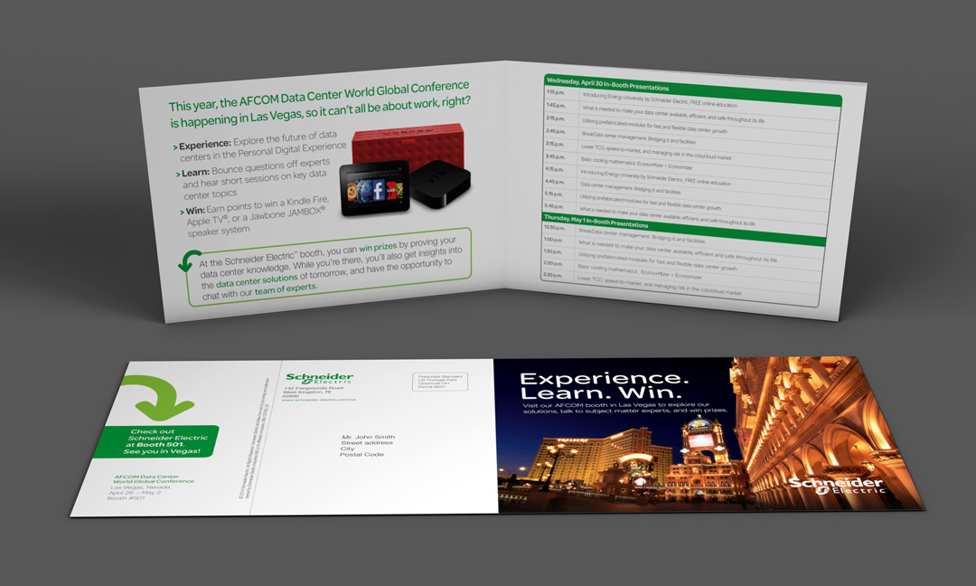 Trade show invitation for a Las Vegas trade show by Schneider Electric