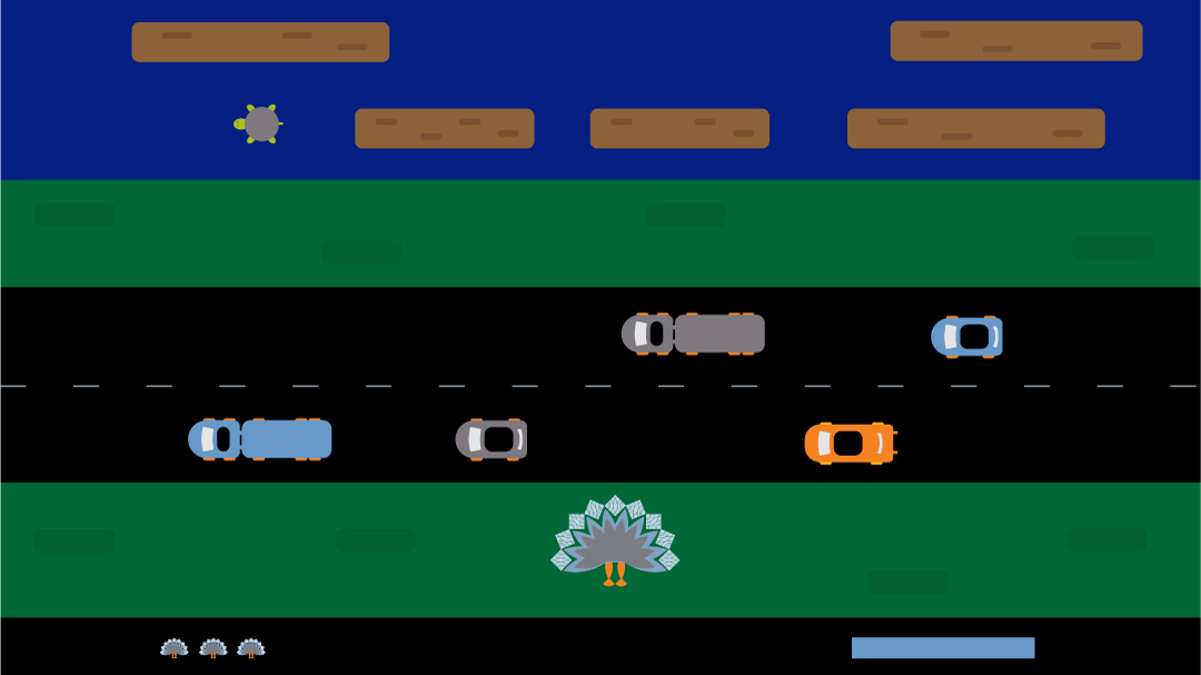 A Turkey Frogger game used in an animated Thanksgiving holiday card.