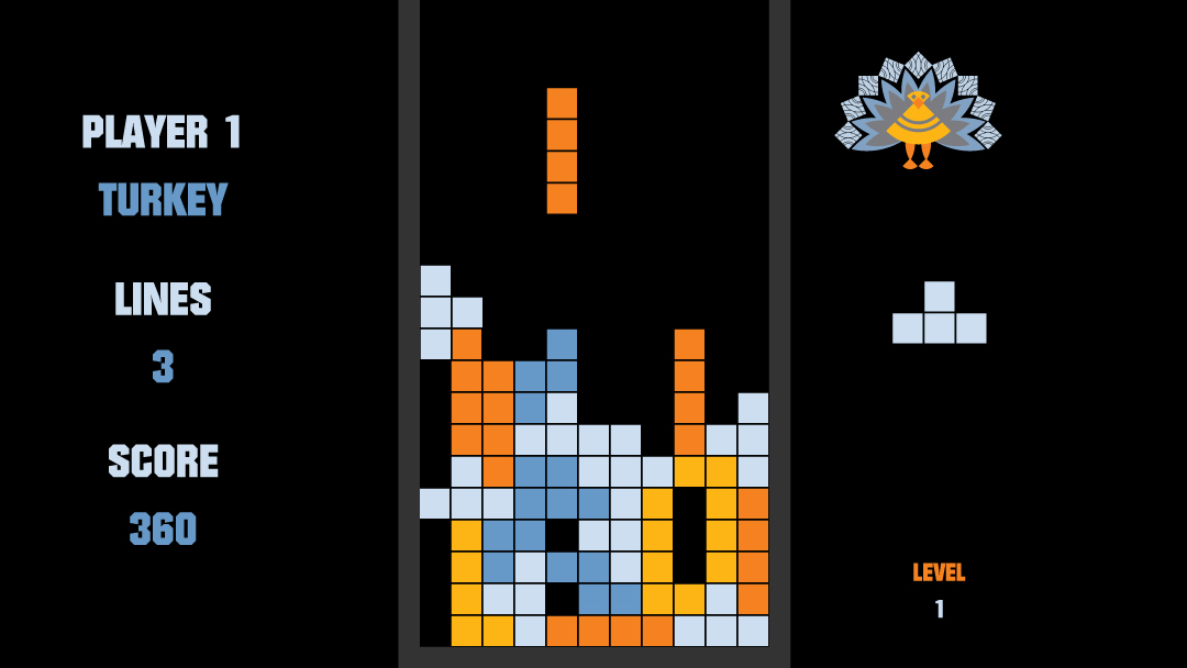 A Turkey Tetris scene used in an animated Thanksgiving card for clients.